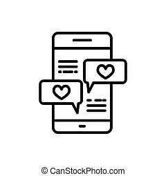 Smartphone with heart message line icon, outline vector sign, linear style pictogram isolated on white. Love chat symbol, logo illustration