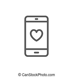 Smartphone with heart on display, love message line icon.