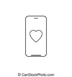 Smartphone with heart outline icon. linear style sign for mobile concept and web design. Charity heart phone line vector icon. Vector illustration isolated on white background.