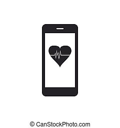 Smartphone with heart rate monitor function icon isolated. Flat design. Vector Illustration