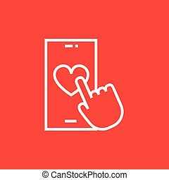 Smartphone with heart sign line icon.