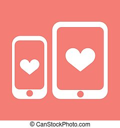 Smartphone with heart vector icon.