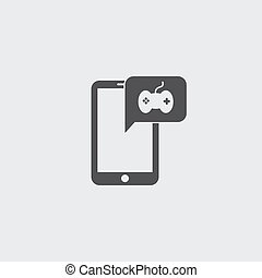 Smartphone with joystick icon in a flat design in black color. Vector illustration eps10