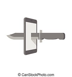 Smartphone with knife set internet cyber crime concept idea illustration isolated on white background, with copy space