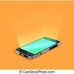 smartphone with light screen on orange background