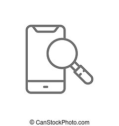 Smartphone with loupe, search phone line icon.