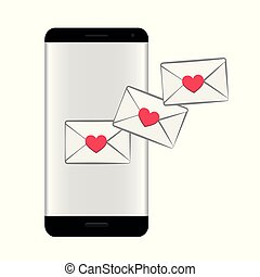 smartphone with love message online dating concept