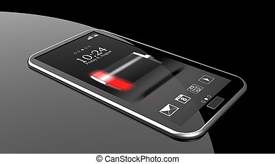Smartphone with low battery indicator on screen isolated on...