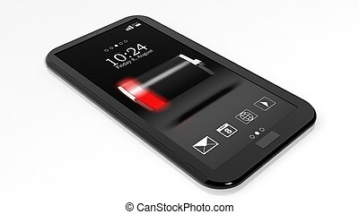 Smartphone with low battery indicator on screen isolated on white