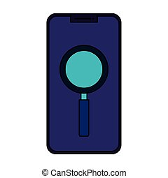 smartphone with magnifying glass isolated icon