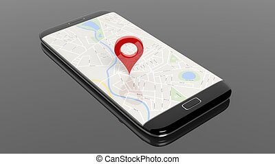 Smartphone with map and red pinpoint on screen, isolated on...
