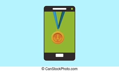 smartphone with medals podium championship animation...