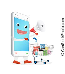 smartphone with megaphone shopping - smartphone cartoon with...