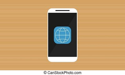 smartphone with menu applications animation illustration...