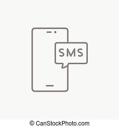 Smartphone with message line icon.
