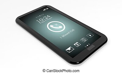 Smartphone with missed call notification on screen isolated...