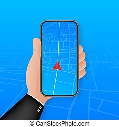 Smartphone with mobile navigation app on screen. Route map with symbols showing location of man. Vector stock illustration.