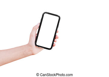 Smartphone with mockup in hand of man, isolated on white background.