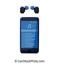 Smartphone with Music Media Player Interface and Headphones Vector Illustration on White Background