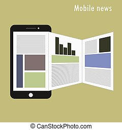 Smartphone with news applications on the screen