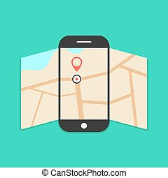 smartphone with opened map isolated on green background