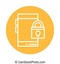 smartphone with padlock, block and flat style icon