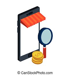 smartphone with parasol and magnifying glass