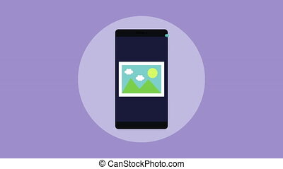 smartphone with picture file and speech bubble , hd video...