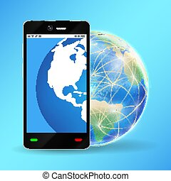 smartphone with planet earth world globe vector