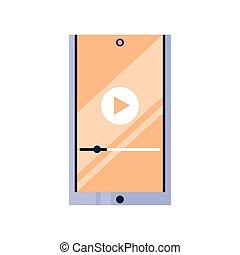 smartphone with play button on the screen