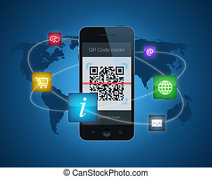 Smartphone with QR code reader - A smartphone showing a QR...