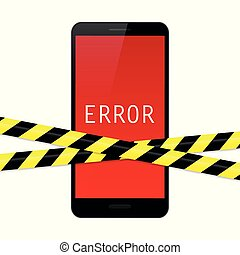 smartphone with red error display and warning tape