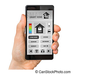 Smartphone with remote smart home control system on white