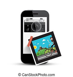Smartphone with Retro Camera and Picture on Paper. Photography App on Cell Phone.