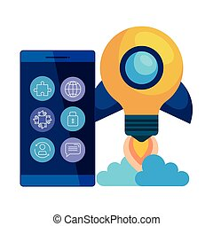 smartphone with rocket bulb launcher vector illustration...