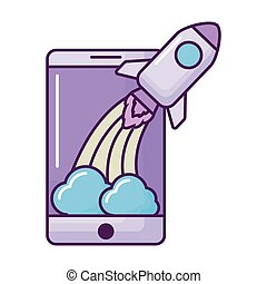 smartphone with rocket launcher vector illustration design