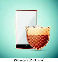 Smartphone with Security shield icon isolated on white background. Vector Illustration