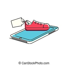 smartphone with shoe tennis