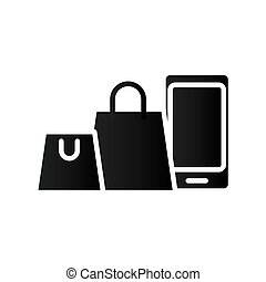 smartphone with shopping bags silhouette style icon vector illustration design