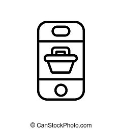smartphone with shopping basket line style icon