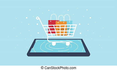 smartphone with shopping cart commerce electronic animation ,4k video animated