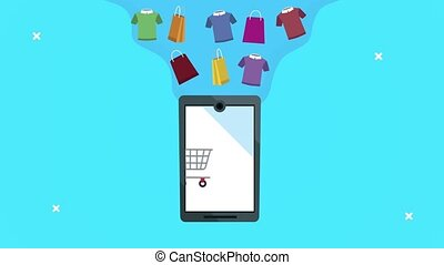 smartphone with shopping cart ecommerce technology ,4k video animated