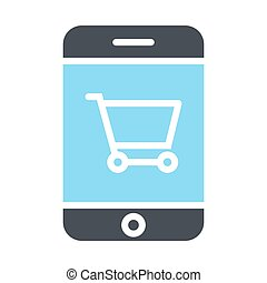 Smartphone with Shopping Cart Pixel Perfect Vector Silhouette Icon 48x48. Simple Minimal Pictogram