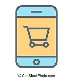 Smartphone with Shopping Cart Pixel Perfect Vector Thin Line Icon 48x48. Simple Minimal Pictogram