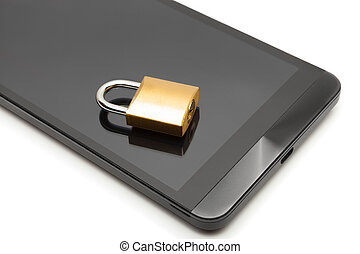 Smartphone with small lock over it - data protection concept