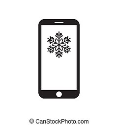 Smartphone with snowflake on the screen