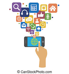 Smartphone with social media icons.Illustration eps10
