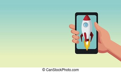 Smartphone with space rocket HD animation - Smartphone with...