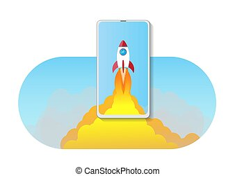 smartphone with space rocket launch.