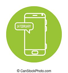 smartphone with speech bubble on green background